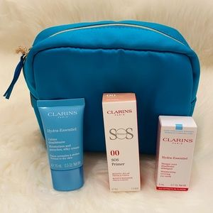 New Clarins cosmetic bag. Moisturizer and primer.
